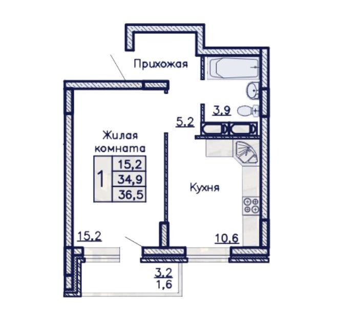 ЖК Адмирал однакомнатная квартира 36,5 м2