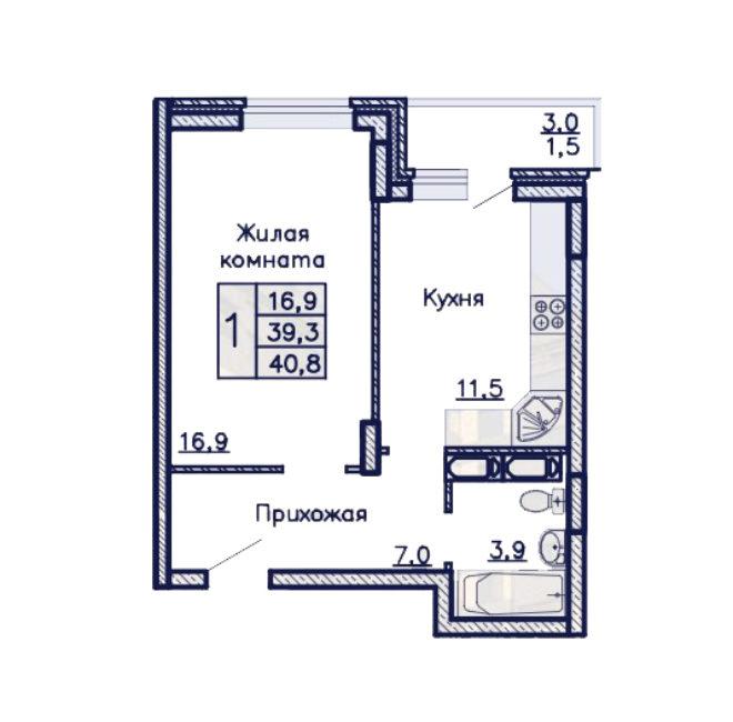 ЖК Адмирал однакомнатная квартира 40.8 м2