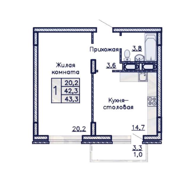 ЖК Адмирал однакомнатная квартира 43,3 м2